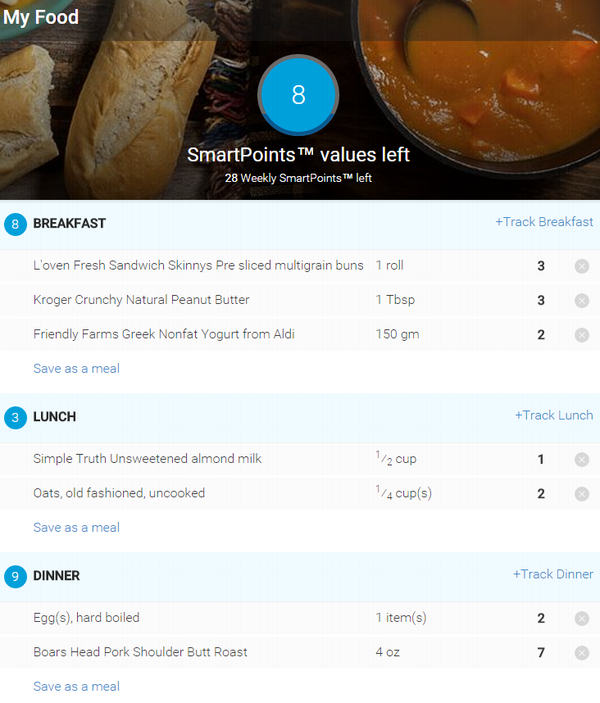Weight Watchers OnlinePlus Food Tracker